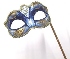 Blue and Gold Masquerade Mask  - Mask on a Stick | Masks and Tiaras